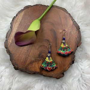 Colorful Embroidered Scalloped Statement Earrings